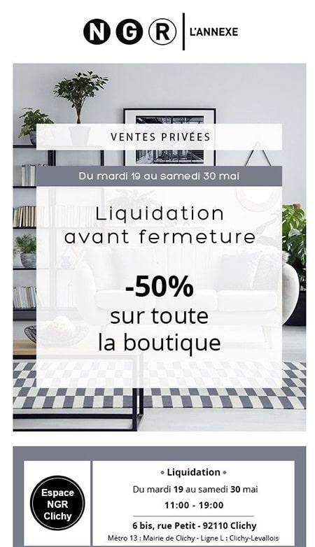 NGR L'Annexe à Clichy --50% sur toute la boutique - liquidation avant fermeture